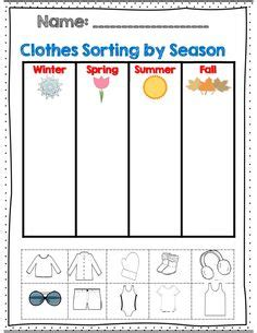 clothes for different seasons worksheet 1000 images about weather seasons theme preschool