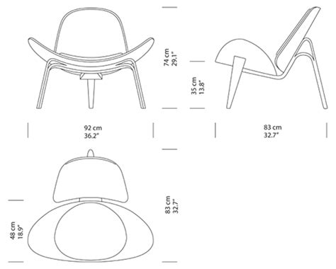 J Drawing Size by Shell Chair Dimensions Colors Finishes Hans J Wegner