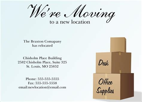 business moving announcement note card word template new location moving card company moving by cardsdirect