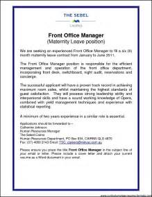 Cover Letter Front Office Manager by Front Office Manager Resume Free Sles Exles Format Resume Curruculum Vitae Free