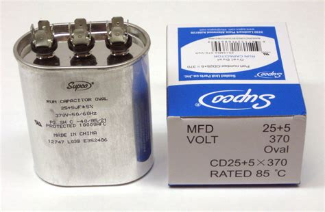 hvac capacitor list air conditioning hvac oval dual motor run capacitor 25 5 mfd 370 volt ebay