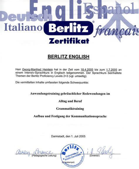 Englisch Zertifikat Bewerbung Berlitz Englisch