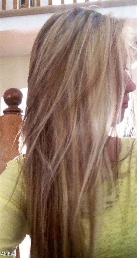 dark brown hair  blonde highlights  red lowlights