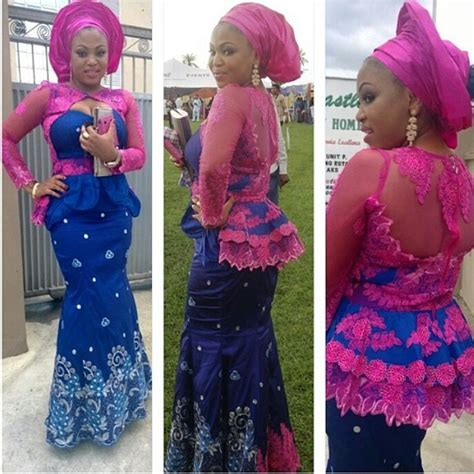 print african fashion nigerian aso ebi styles pink and blue aso ebi combination collages from nigerian