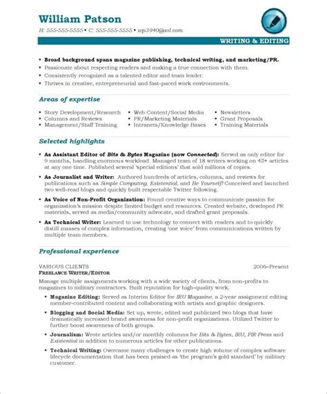 Writer Editor Resume Template by 16 Best Images About Media Communications Resume Sles
