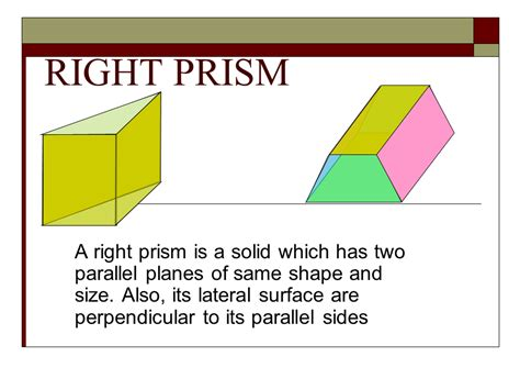right section of a prism right prism volume presentation mathematics sliderbase