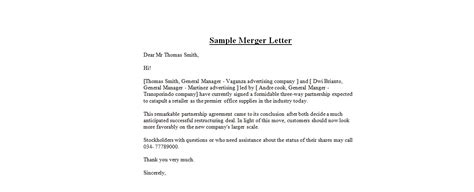 Customer Letter Announcing Acquisition Sle Merger Letter Business Letter Exles