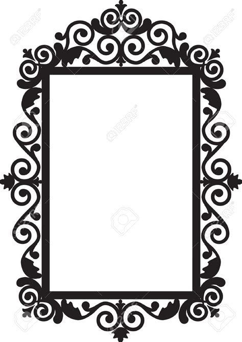 Baroque Wall Stickers frame clipart antique mirror pencil and in color frame