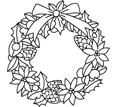 wreath of christmas flowers coloring page coloringcrew com