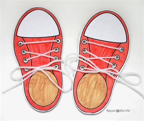 shoe lacing card templates learning to lace and tie your shoe craft repeat crafter me