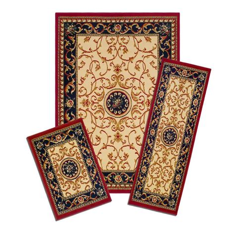 area rug and runner sets wrought iron medallion 3 set incl 5 ft x 7 ft area rug matching 22 in x 59 in