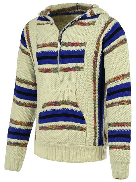 colormix 2xl striped pattern half zip sleeve hooded