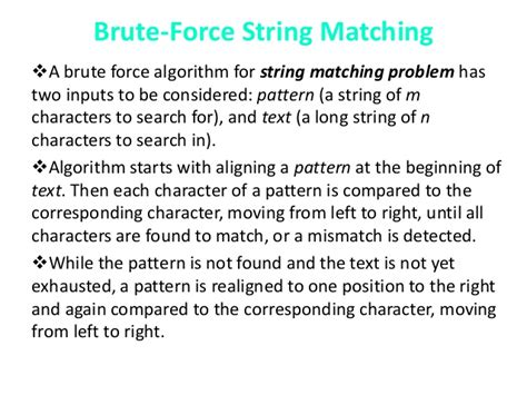 pattern matching algorithm brute force implementation of different pattern recognition algorithm