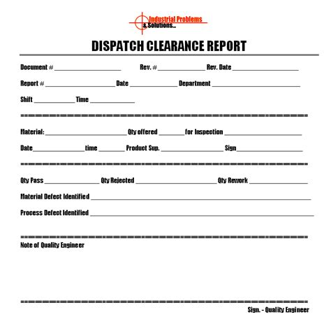 dispatch template dispatch clearance report format