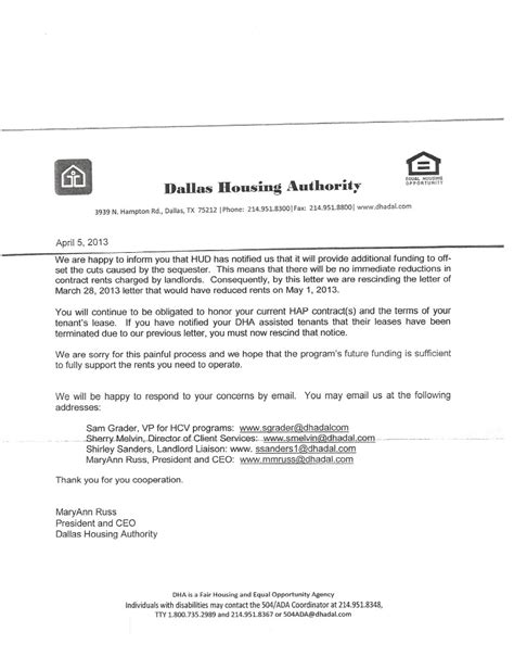 Section 8 Housing Letter Tim Herriage