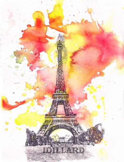 eiffel tower landscape watercolor