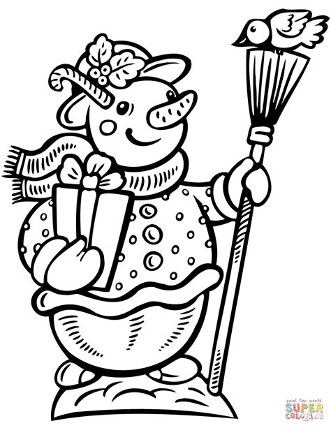 broom tree coloring page snowman with gift box and broom coloring page free