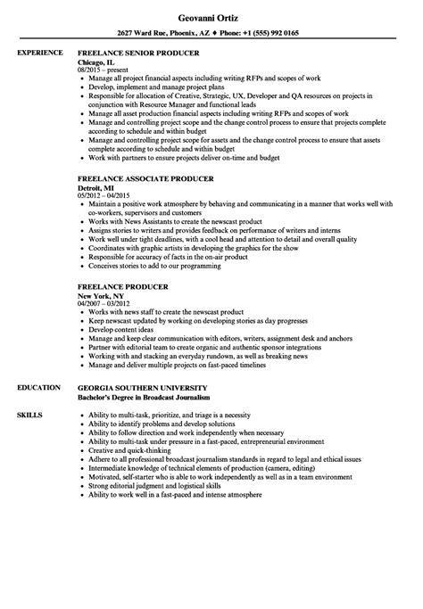 Freelance Producer Sle Resume by Freelance Producer Resume Sles Velvet