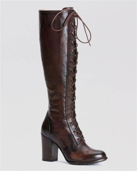 frye lace up boots in brown lyst