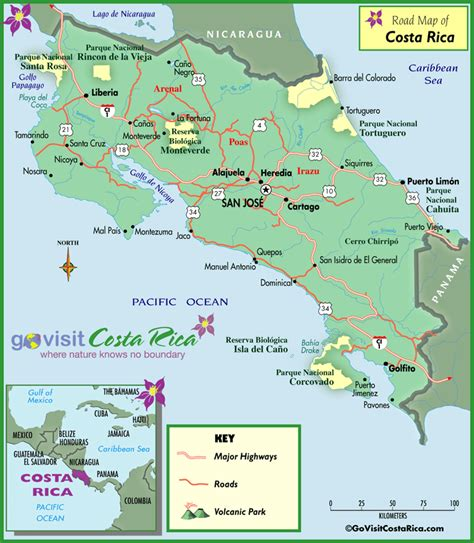 detailed road map of costa rica costa rica road map costa rica go visit costa rica