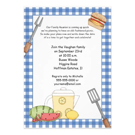 Invitation Letter Format For Picnic Family Reunion Picnic Invitation 5 Quot X 7 Quot Invitation Card Zazzle