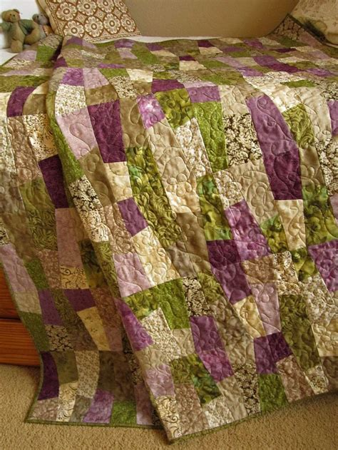 Green Patchwork Quilt - patchwork quilt purple and green 215 00 handmade