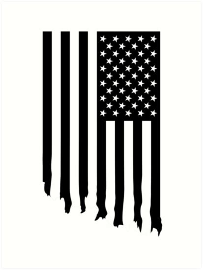 printable american flag black and white quot black and white american flag dripping quot art prints by