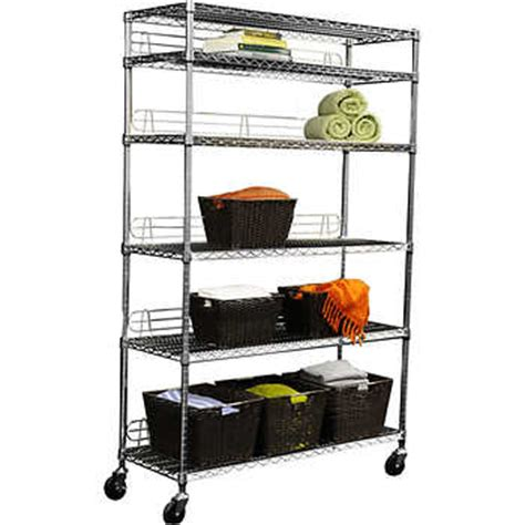 ecostorage 6 tier wire shelving rack 48 quot x 18 quot x 72 quot nsf includes wheels chrome