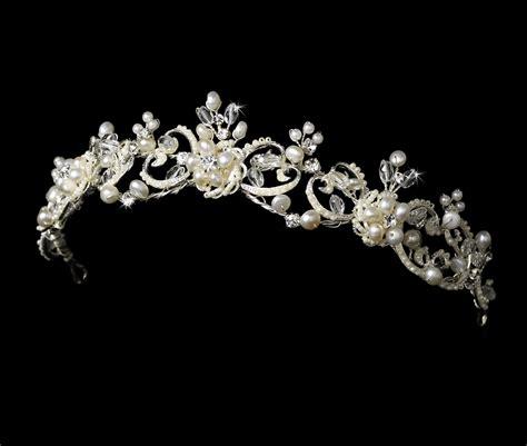 wedding tiaras and crowns victorian pearl crystal wedding tiara elegant bridal