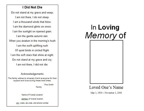 Free Memorial Service Template the funeral memorial program free funeral program