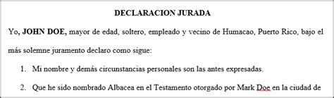 dgcye formulario de declaracin jurada de cargos y actividades declaraci 243 n jurada aceptaci 243 n del cargo de albacea