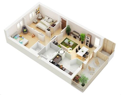 Amazing Floor Plans 10 awesome two bedroom apartment 3d floor plans