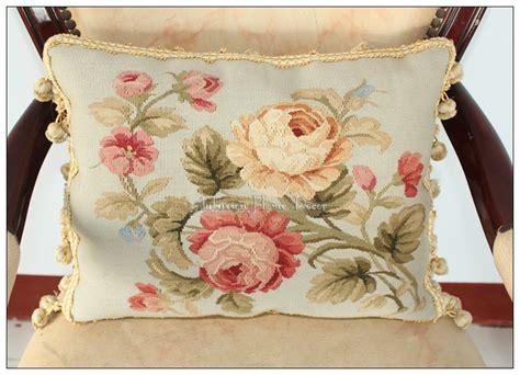 Sarung Bantal Sofa Cushion Cover Shabby Chic Blue Flower wool handwoven aubusson pillow blue pink shabby chic cushion cover 16x12 in cushion