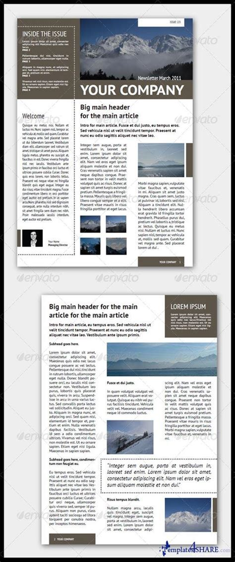 newsletter layout photoshop graphicriver newsletter template 4 pages adjustable