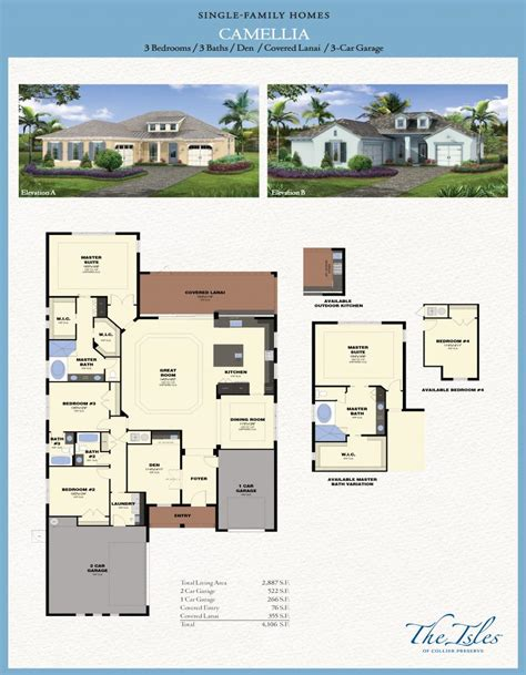 New Tradition Homes Floor Plans the isles of collier preserve camellia model florida
