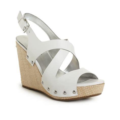 hilfiger wedge sandals hilfiger wedge sandals in white lyst