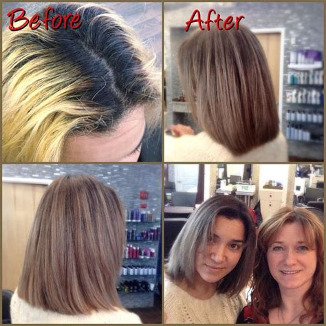 add darker roots to bleached hair correction color today at the salon from black roots and