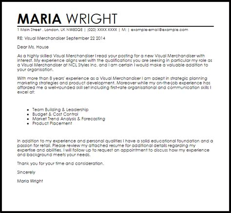Resume Cover Letter For Visual Merchandiser Visual Merchandiser Cover Letter Sle Letter Sles Livecareer