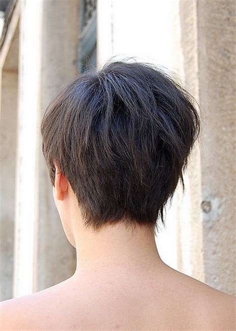 photos of the back of a haircut with a w neckline back view of short haircuts for women