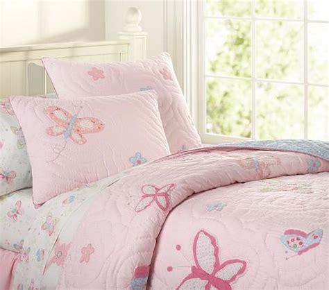 pink butterfly bedroom lindsey quilted bedding pottery barn kids