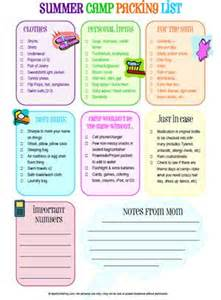 Things To Bring Cing In A Cabin by Summer Cs Packing Lists And Summer C Packing On
