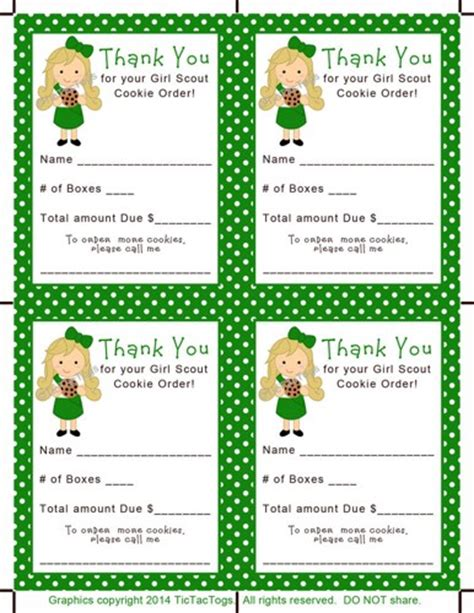 printable thank you cards girl scout cookies cookie scout order sales receipt thank you pdf print