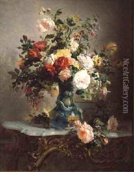 Painting Of Roses In Vase by Vase Of Roses And Other Flowers Painting Reproduction