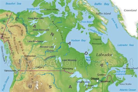 map of canada physical index of northamerica canada
