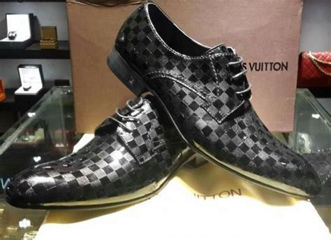louis vuitton mens lv dress black damier leather shoes