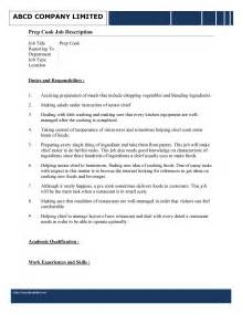 Chef Duties And Responsibilities by Prep Cook Description Template Free Microsoft Word