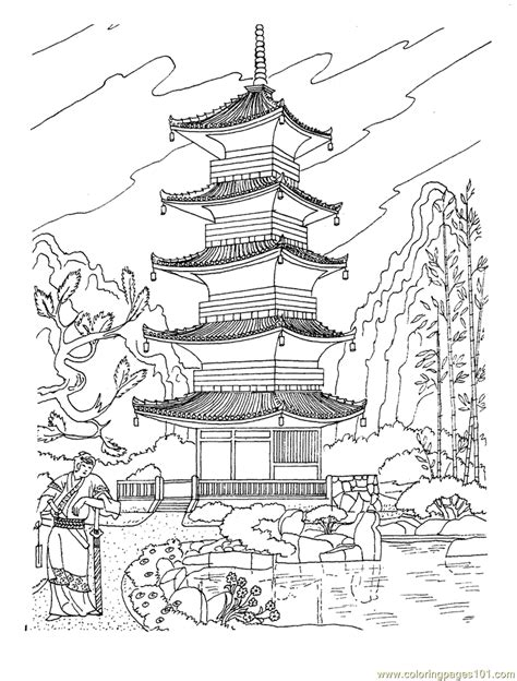 coloring page japan buddhist pagoda in japan coloring page free sightseeing