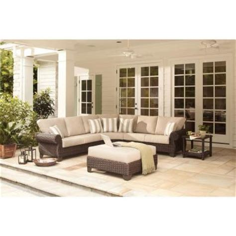 home depot outdoor sectional hton bay mill valley 4 piece patio sectional set with