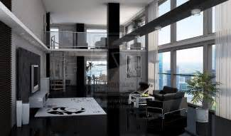 Modern Living Room Loft Dan Sawyer Black Loft Apartment Black And White Always