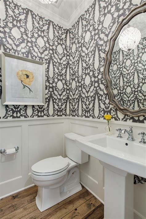floral wallpaper powder room traditional with wainscoting